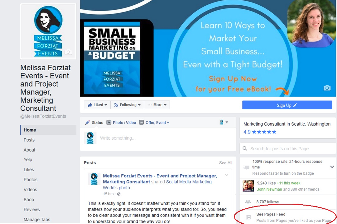How to Like Pages as Your Business Page on Facebook - See Pages Feed