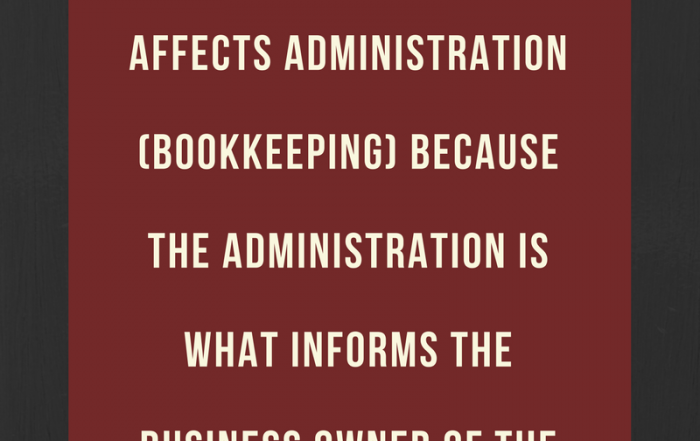 Every aspect of a business operation affects administration (bookkeeping) because the administration is what informs the business owner of the health of the business.